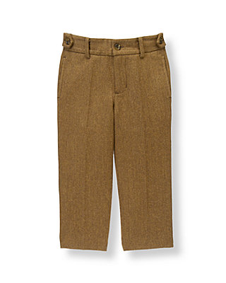 Boys Bridle Brown Herringbone Wool Blend Suit Trouser at JanieandJack
