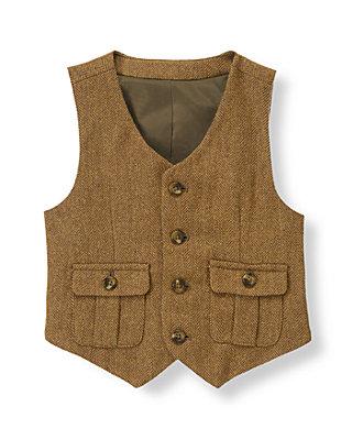 Bridle Brown Herringbone Wool Blend Suit Vest at JanieandJack