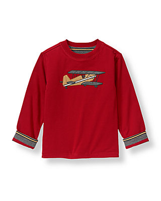 Holiday Red Vintage Plane Reversible Tee at JanieandJack
