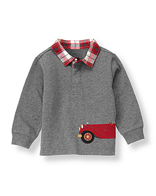 Dark Charcoal Grey Vintage Car Rugby Shirt at JanieandJack