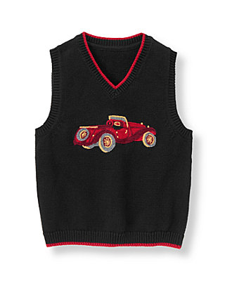 Classic Black Vintage Car Sweater Vest at JanieandJack