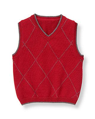 Holiday Red Argyle Sweater Vest at JanieandJack