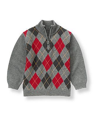 Dark Charcoal Grey Argyle Sweater at JanieandJack