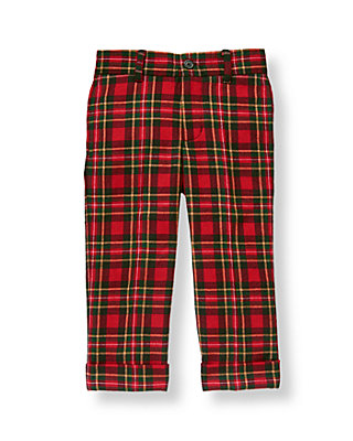 Tartan Red Plaid Tartan Plaid Wool Trouser at JanieandJack