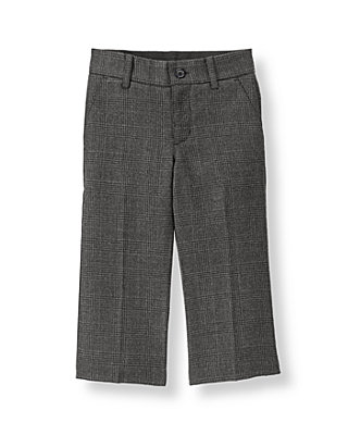 Steel Grey Plaid Glen Plaid Suit Trouser at JanieandJack