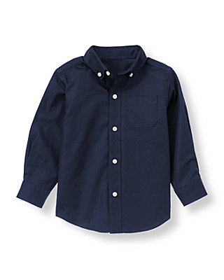 Classic Navy Herringbone Dress Shirt at JanieandJack