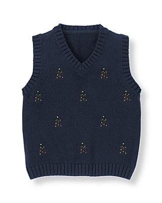 Classic Navy Holiday Tree Sweater Vest at JanieandJack