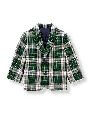 Pine Green Plaid Tartan Suit Blazer at JanieandJack