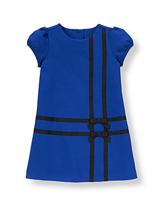 Cobalt Blue Ribbon Ponte Dress at JanieandJack