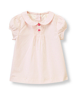 Raspberry Pink Dot Pintucked Dot Top at JanieandJack