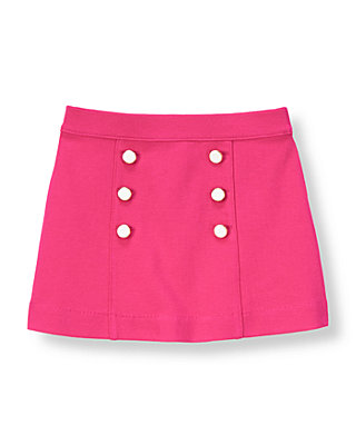 Raspberry Pink Button Ponte Skirt at JanieandJack