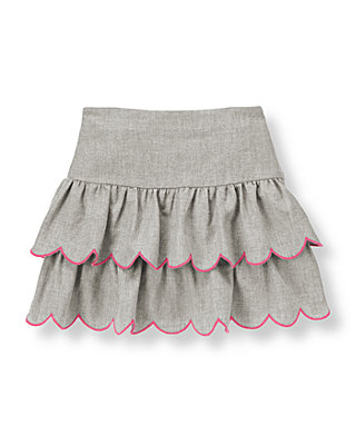 Steel Grey Heather Bow Tiered Skirt at JanieandJack