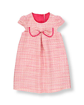 Raspberry Pink Tweed Bow Boucle Dress at JanieandJack