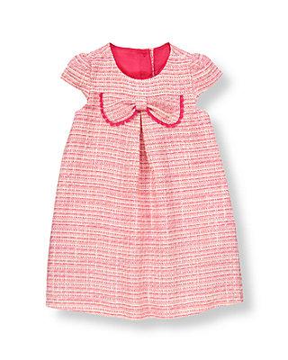Raspberry Pink Tweed Bow Boucle Dress at JanieandJack
