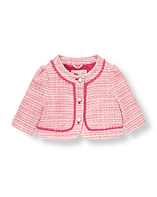 Raspberry Pink Tweed Boucle Jacket at JanieandJack