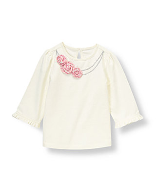 Jet Ivory Boucle Rosette Necklace Top at JanieandJack