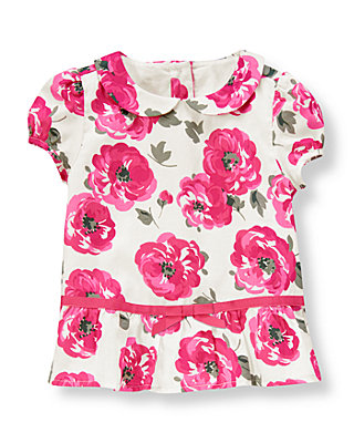 Raspberry Pink Floral Floral Sateen Top at JanieandJack