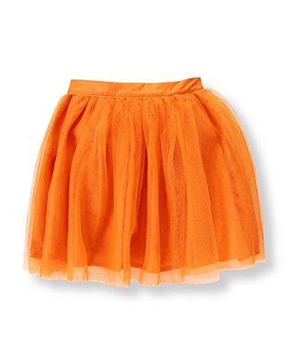 Pumpkin Orange Ruffle Tulle Skirt at JanieandJack