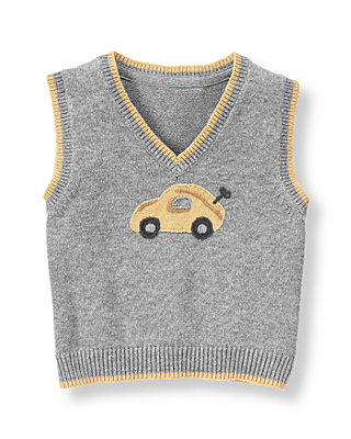 Vintage Grey Heather Toy Car Sweater Vest at JanieandJack