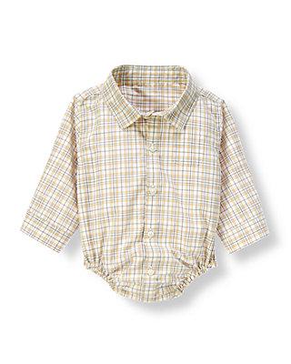 Khaki Plaid Plaid Shirt Bodysuit at JanieandJack