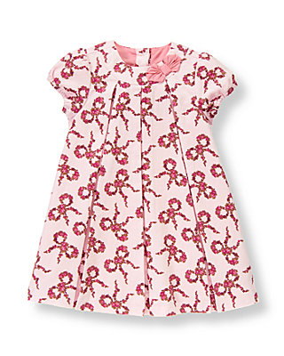 Baby Girl Bow Pink Floral Bow Floral Corduroy Dress at JanieandJack