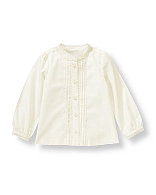 Jet Ivory Lace Trim Pintucked Top at JanieandJack
