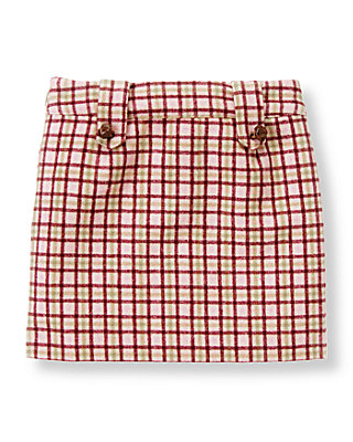 Burgundy Berry Check Button Plaid Skirt at JanieandJack