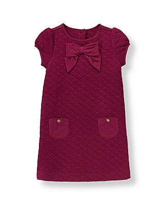 Burgundy Berry Quilted Knit Dress at JanieandJack