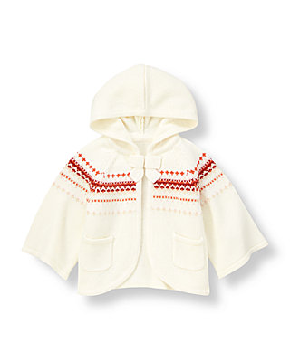 Orange Fox Fair Isle Fair Isle Hooded Cardigan at JanieandJack