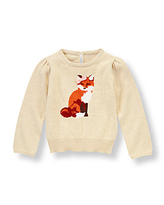 Oatmeal Heather Fox Sweater at JanieandJack