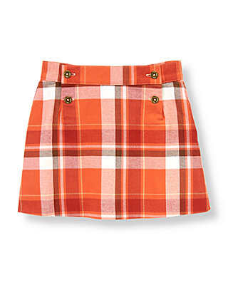 Orange Fox Plaid Plaid Twill Skirt at JanieandJack