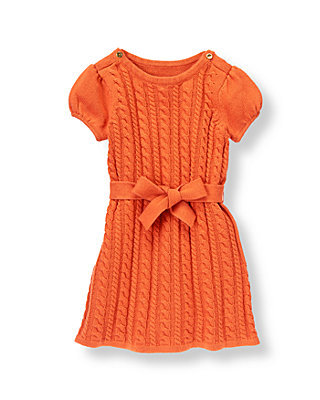 Orange Fox Belted Cable Sweater Dress at JanieandJack
