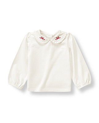 Jet Ivory Bow Collar Top at JanieandJack