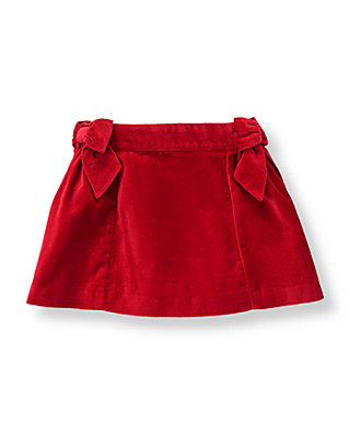 Holiday Red Bow Velveteen Skirt at JanieandJack