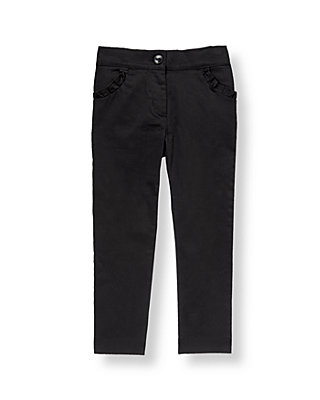 Classic Black Ruffle Sateen Pant at JanieandJack