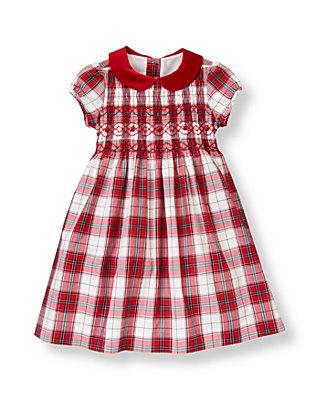 Holiday Red Plaid Hand-Smocked Plaid Dress at JanieandJack