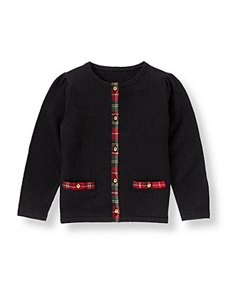 Classic Black Tartan Plaid Trim Sweater Cardigan at JanieandJack