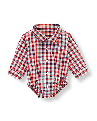 Baby Boy Holiday Red Plaid Plaid Shirt Bodysuit at JanieandJack