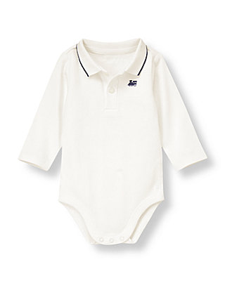Baby Boy Jet Ivory Vintage Train Polo Bodysuit at JanieandJack