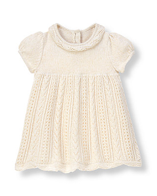 Baby Girl Jet Ivory Hand-Embroidered Pointelle Sweater Dress at JanieandJack