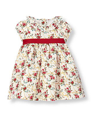 Baby Girl Holiday Rose Floral Rose Floral Silk Dress at JanieandJack