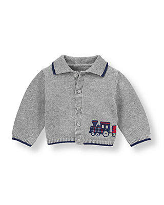 Baby Boy Light Dark Charcoal Grey Vintage Train Cardigan at JanieandJack