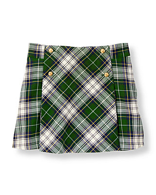 Pine Green Plaid Tartan Skirt at JanieandJack