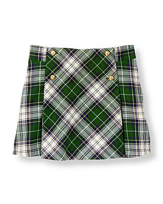 Pine Green Plaid Tartan Skirt at JanieandJack