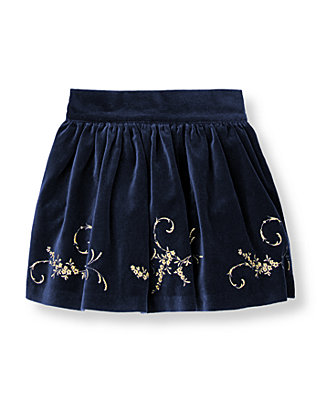 Classic Navy Metallic Embroidered Velveteen Skirt at JanieandJack