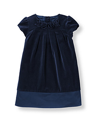 Classic Navy Rosette Velveteen Dress at JanieandJack