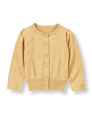 Metallic Gold Metallic Sweater Cardigan at JanieandJack