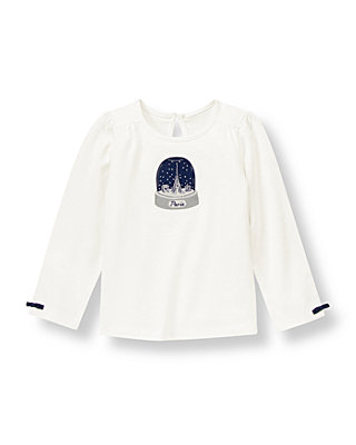Jet Ivory Paris Snow Globe Top at JanieandJack