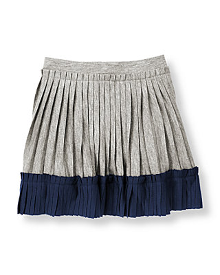 Parisian Grey Colorblock Pleated Knit Skirt at JanieandJack