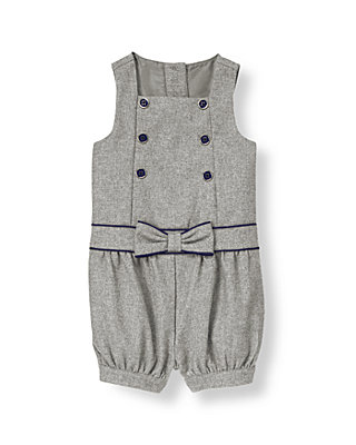 Parisian Grey Metallic Twill Romper at JanieandJack